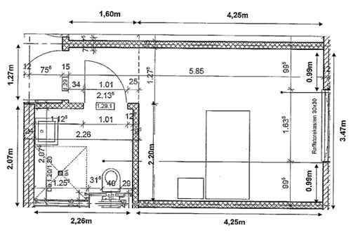 Grundriss eines FFH Senioren-Zimmers